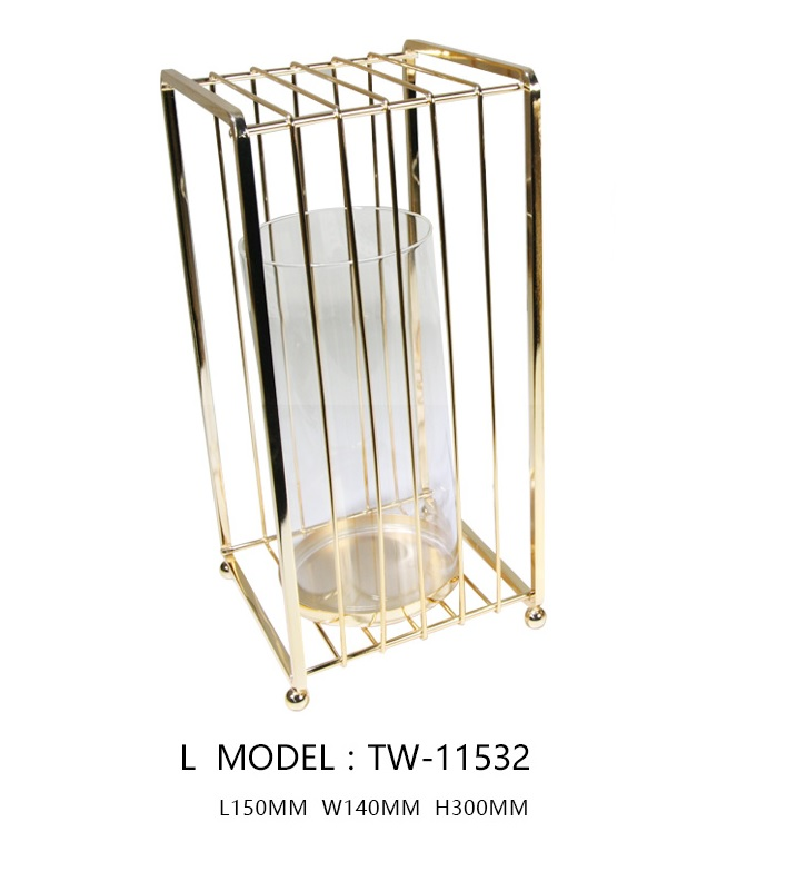 Glass Jar Candle Stand with Square Cage (L)