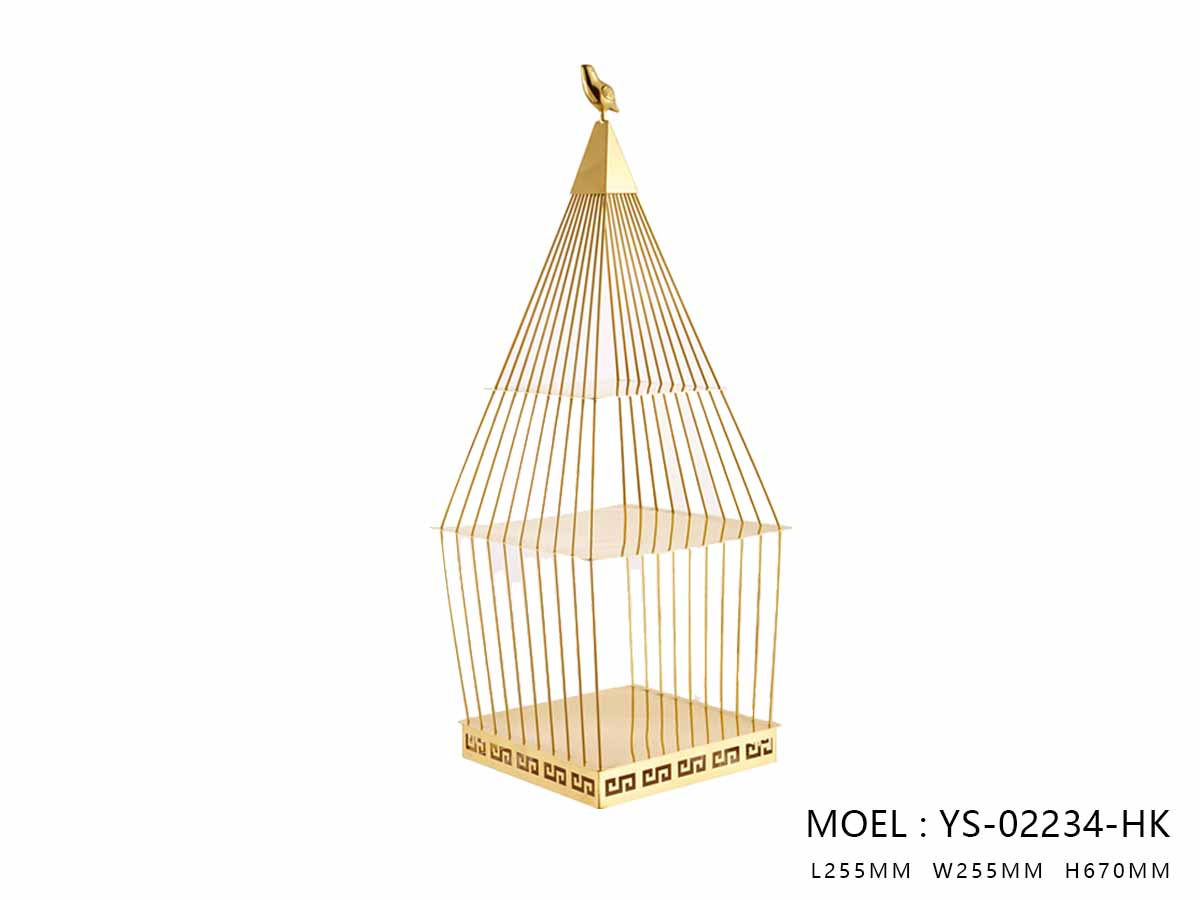 Steel Bird Cage, Polished Gold